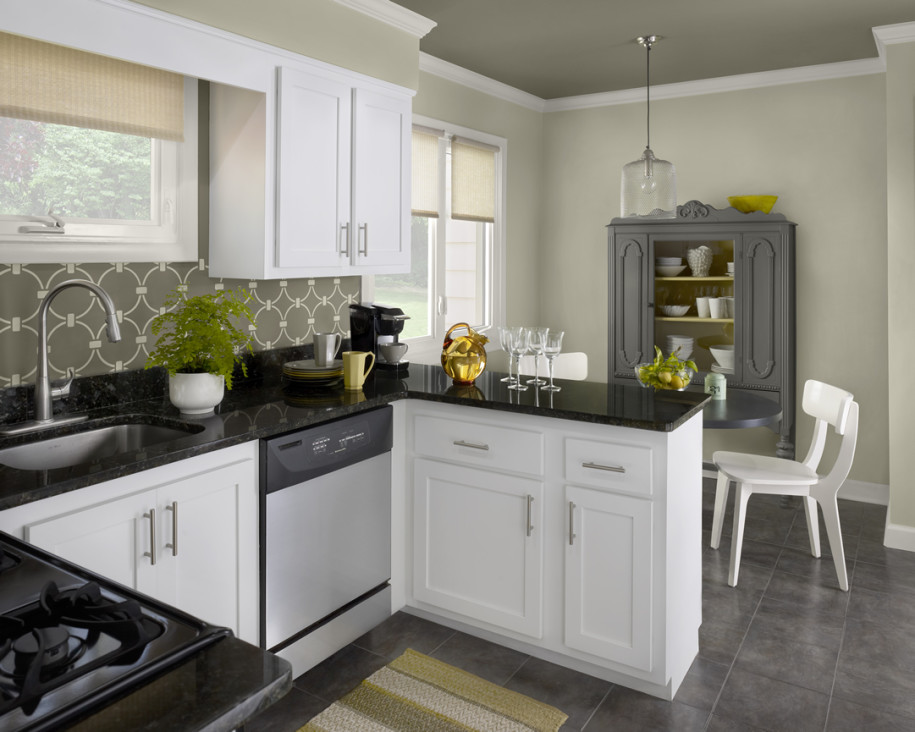 Sophisticated Kitchen Paint Color in Grey to Meet White Cabinetw with Patterned Backsplash