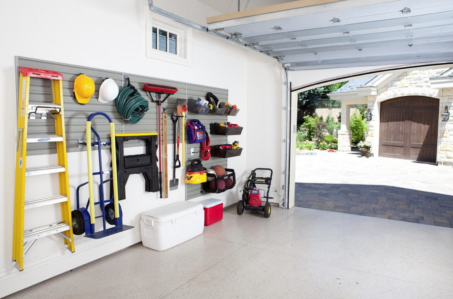 Space Saving Garage Organization Ideas with Racks on Wall and above Head Storage