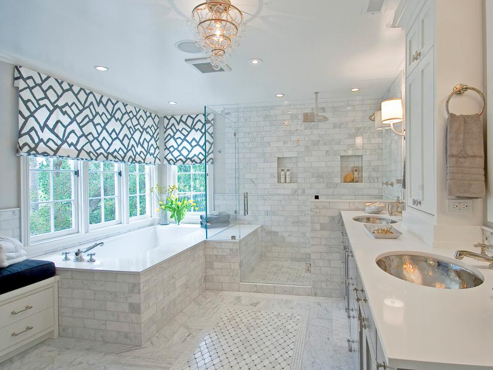 Awesome Bathroom Windows Ideas Part - 5: Spacious Closed Glass Shower Area Inside Contemporary Bathroom With Unique  Lamp And Interesting Bathroom Window Curtains
