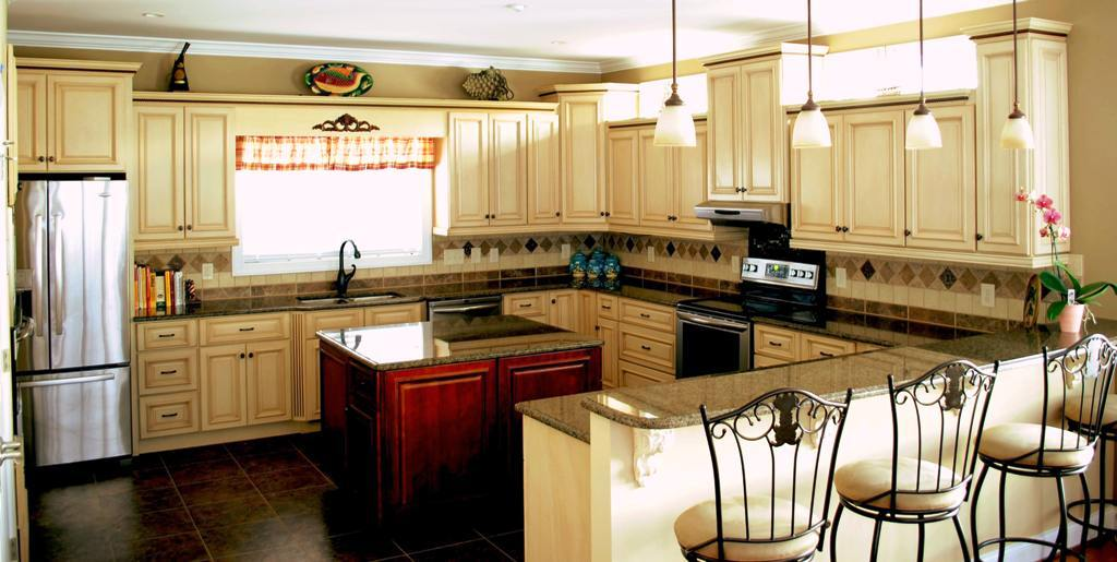Spacious Kitchen Remodeling Ideas With U Shaped Cabinet With Hardwood  Island In The Middle
