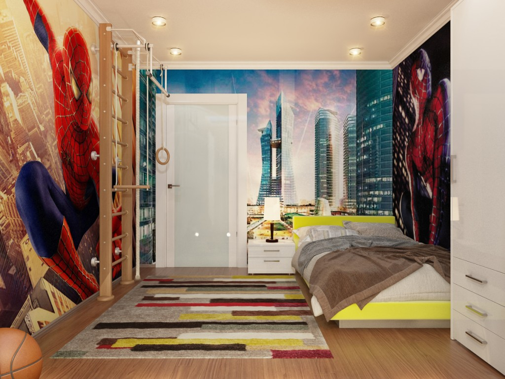 Spiderman Wall Decal Decorating Amazing Boys Bedroom Ideas with Yellow Platform Bed and White Nightstand