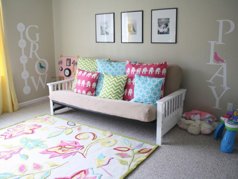 Square Cushions on Cozy Sofa for Fun Playroom Decor Ideas with Fabulous Carpet and Wall Mural