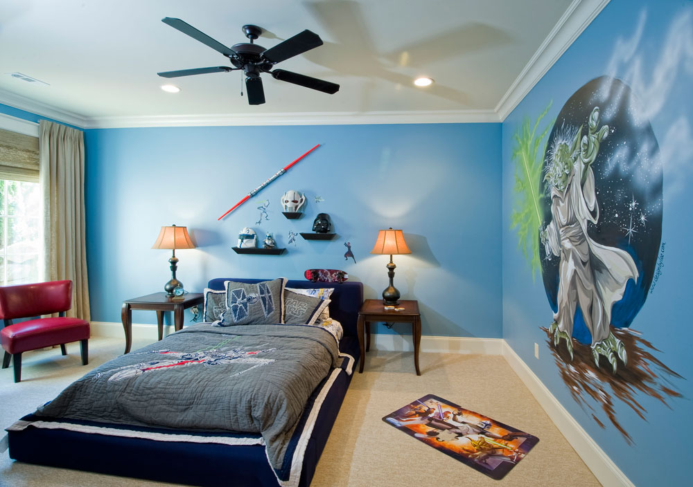 Star Wars Wall Mural Decorating Interesting Boys Room Ideas with Wide Bed and Wooden Bedside Tables