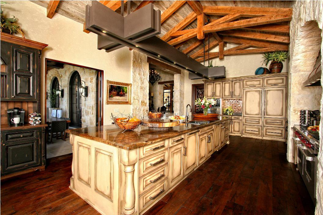 Stone Wall and Traditional Rustic Kitchen Cabinets of Small Kitchen with Raised Ceiling
