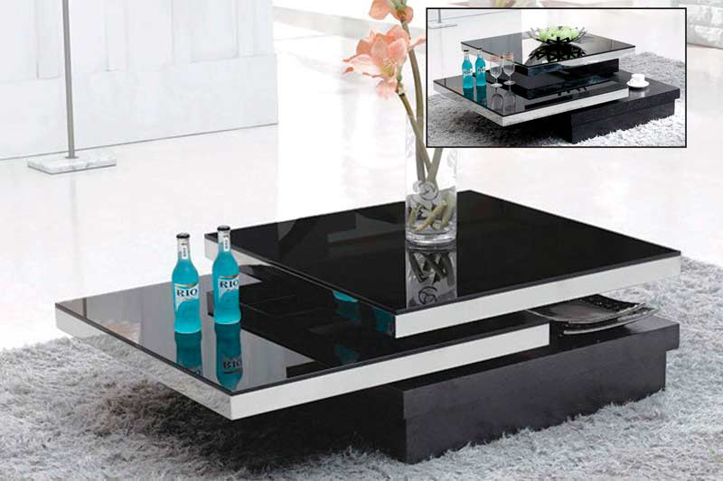 Strong Wooden Base for Modern Coffee Table with Reflective Black Top and Unusual Design