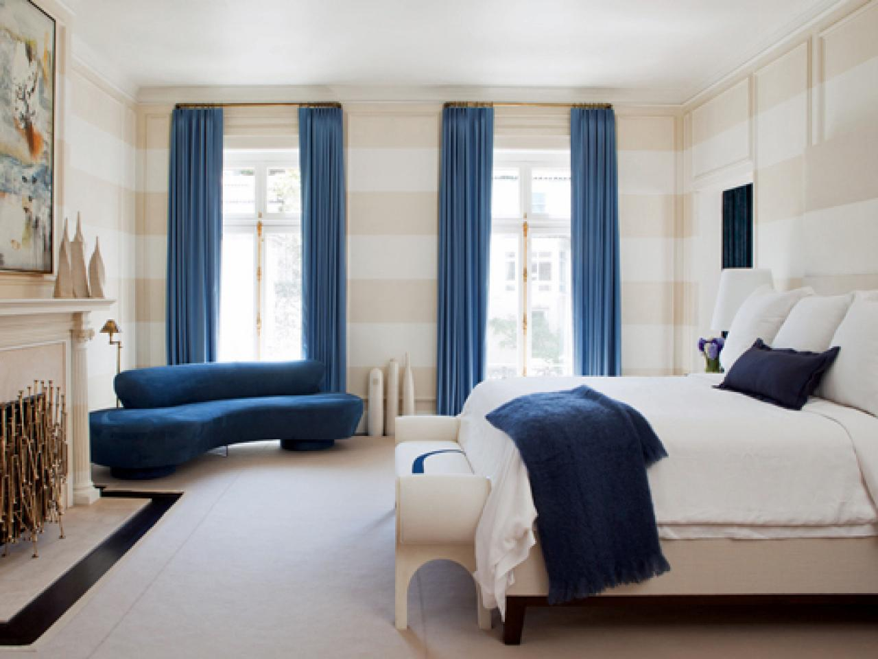 Stunning Blue Curtains for Window Treatment Completing White and Blue Coloring Scheme