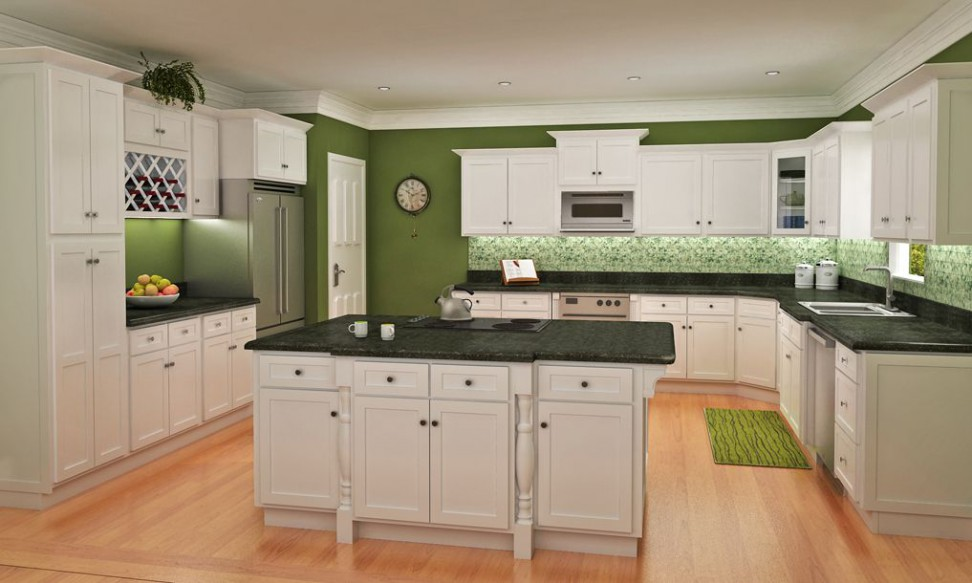 Stunning Green Wall Painting and Backsplash to Complete White Kitchen Furniture
