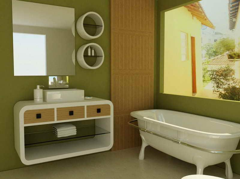 green bathroom color ideas. Stylish Bathroom Vanity and Shelves in White Combined with Green  Coloring Assorted Color Ideas For Any MidCityEast