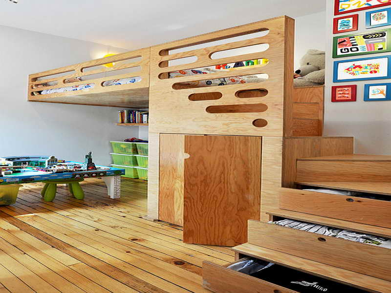 Elegant Stylish Bed Above Study And Play Area Made From Wood With Closet Underneath  The Bed