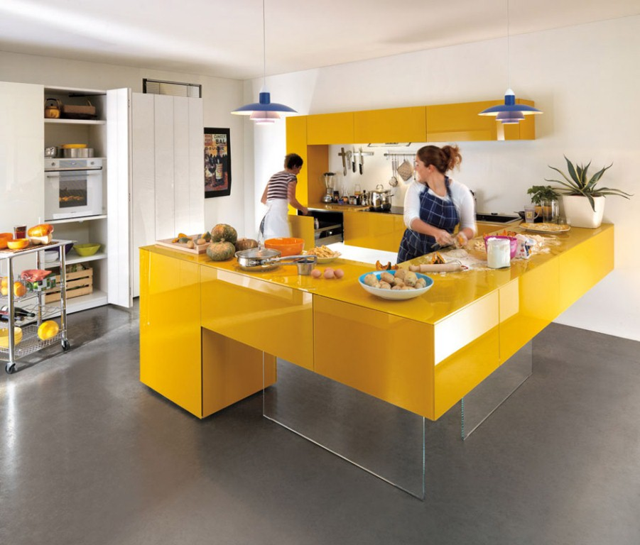 Stylish Floating Kitchen Cabinet with Yellow Color Matched with White Room Painting