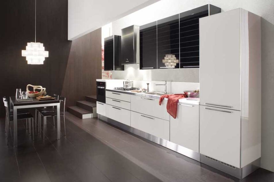 Stylish Floating White Kitchen Cabinet Combined with Black Upper Cabinet with Decorative Lighting