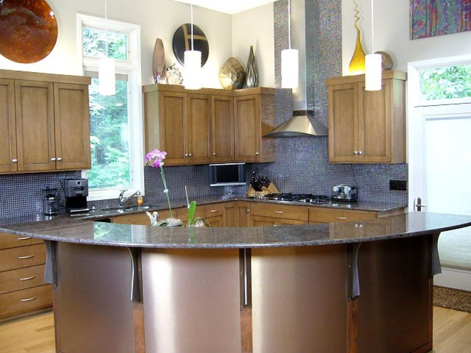 Surprising Curvy Island With Tools And Ceramic Extended Backsplash For Kitchen  Remodeling Ideas