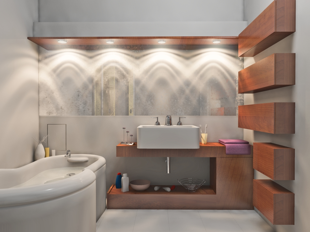 Surprising Decorative Lighting for Bathroom Creating a Nice Pattern on the Wall and Mirror