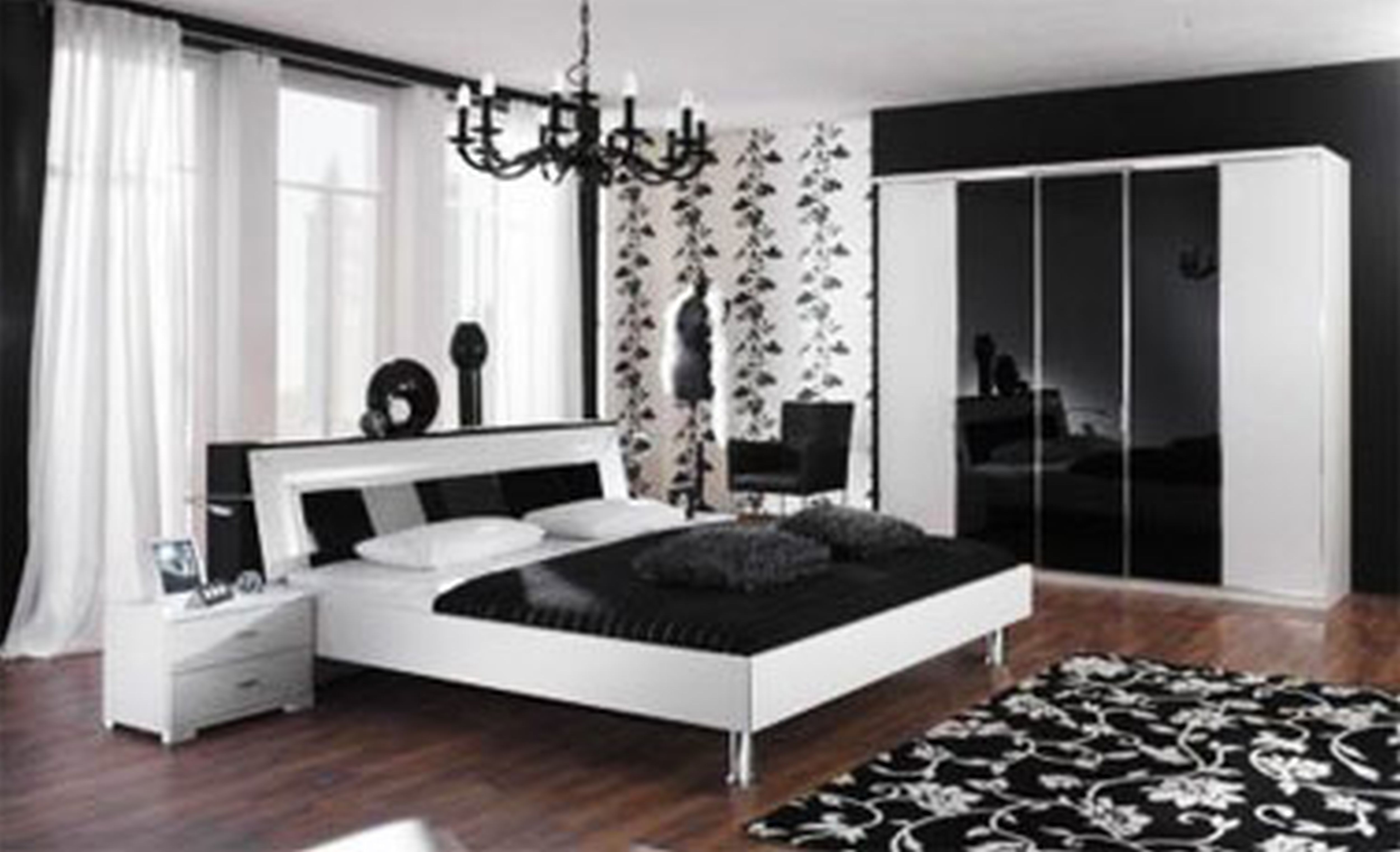 3 black and white bedroom ideas midcityeast Dark curtains small room