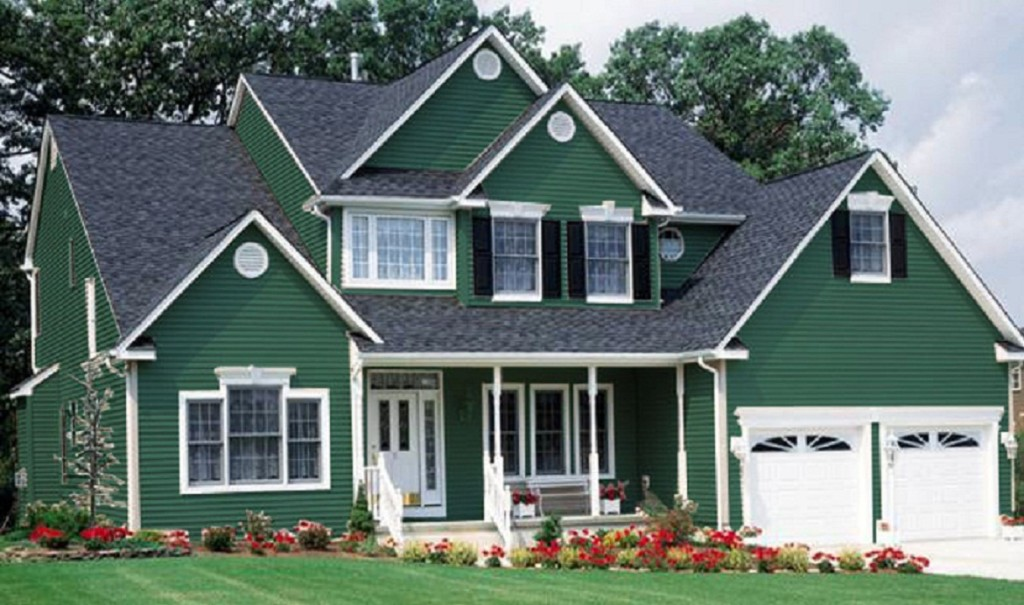 Superbe Surprising Green Exterior Paint For Two Story House With Neat Lawn And  Flower Beds