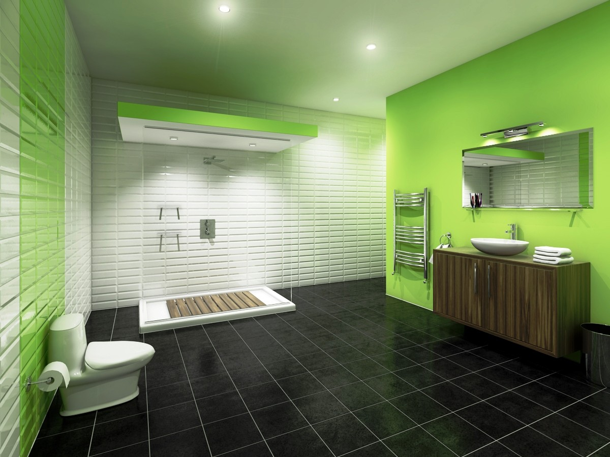 surprising green painted wall combined with white tiled wall for relaxing bathroom interior unusual bathroom tile design