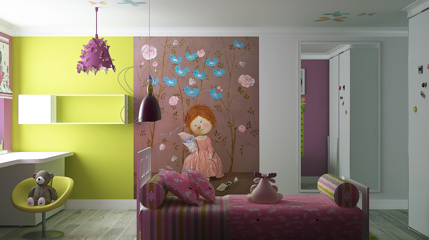 Surprising Wall Mural to Decorate Bedroom for Girls with Unique Pendant Lamps
