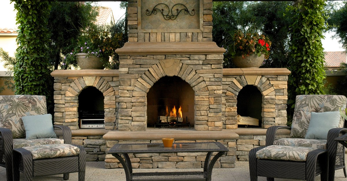Symmetrical Outdoor Fireplace Plan to Serve Two People Sitting on the Armchairs with Footboard