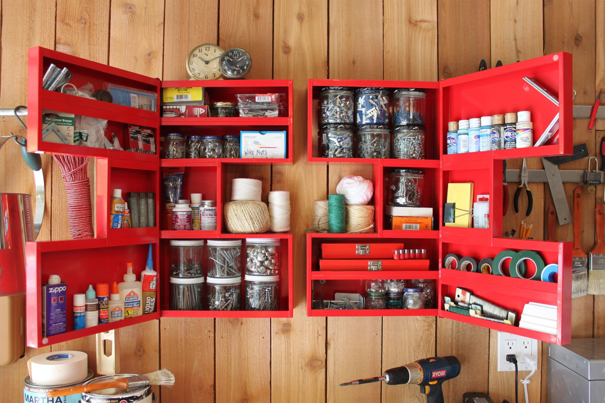 Symmetrical Red Wall Storage Completing Smart Garage Organization Idea for Small Items