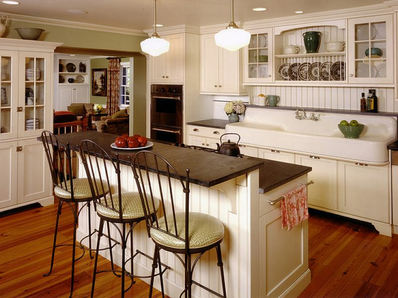 The Awesome Country Themed Kitchen Completed with White Kitchen Island with Old Fashioned Seating on Hardwood Flooring