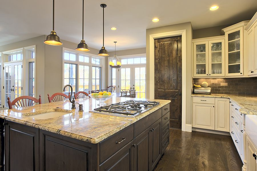 Three Pendant Lamps And Classic Stools For Island As Part Of Kitchen Remodel Ideas
