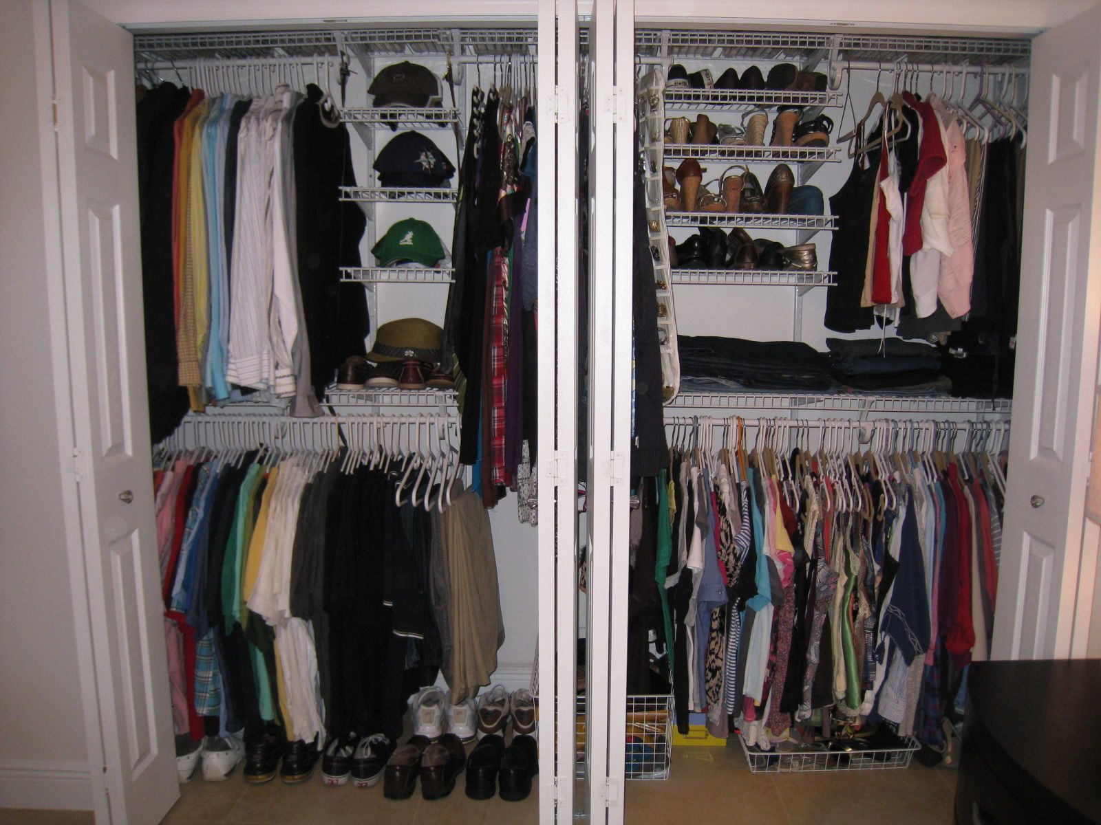 Tidy Floating Shoes Shelves and Clothes Hangers using Interesting Closet Organization Ideas with White Flipped Doors