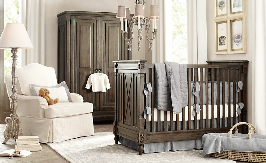 Traditional Baby Nursery Ideas With Wooden Crib And Fabric Covered Armchair