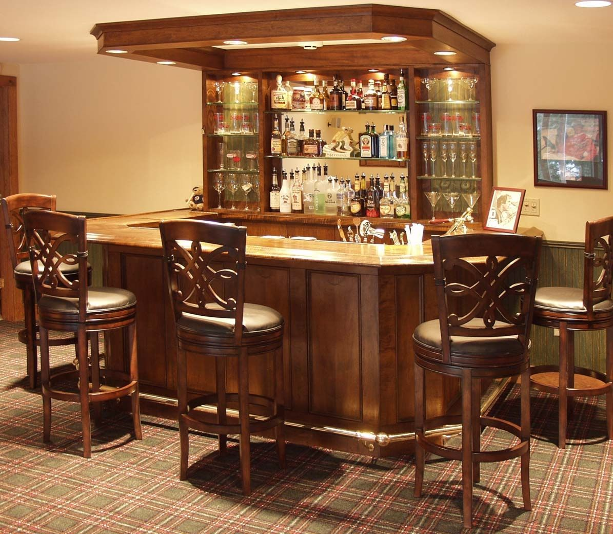 Traditional Home Bar Ideas with Wooden Furnishing with Glass Touches