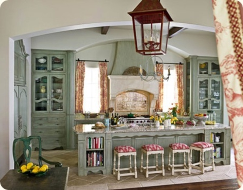 Traditional Kitchen Interior with Beige Furniture and Red Seating Units