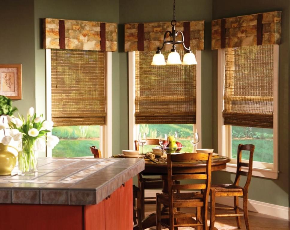 Traditional Kitchen Window Treatments With Floral Patterned Valance For  Bolder Natural Look