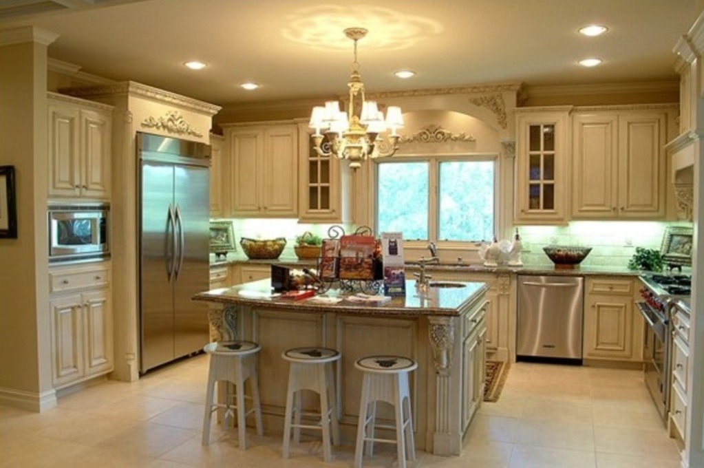 Traditional Kitchen with U Shaped Cabient and Island Remodeled with Unique Chandelier