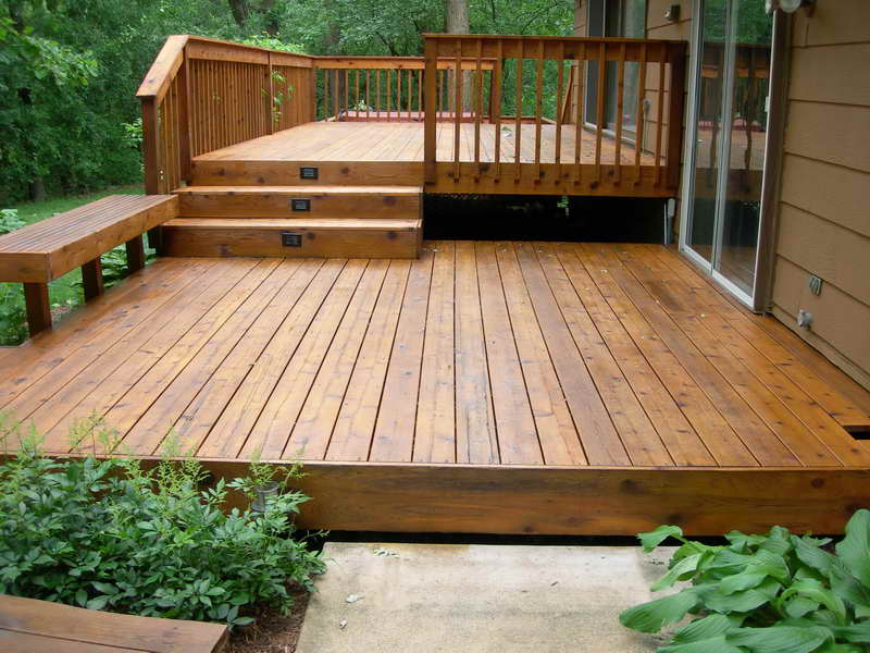Two Levels of Deck Design Ideas with Stairs and Fence for Connection and Protection