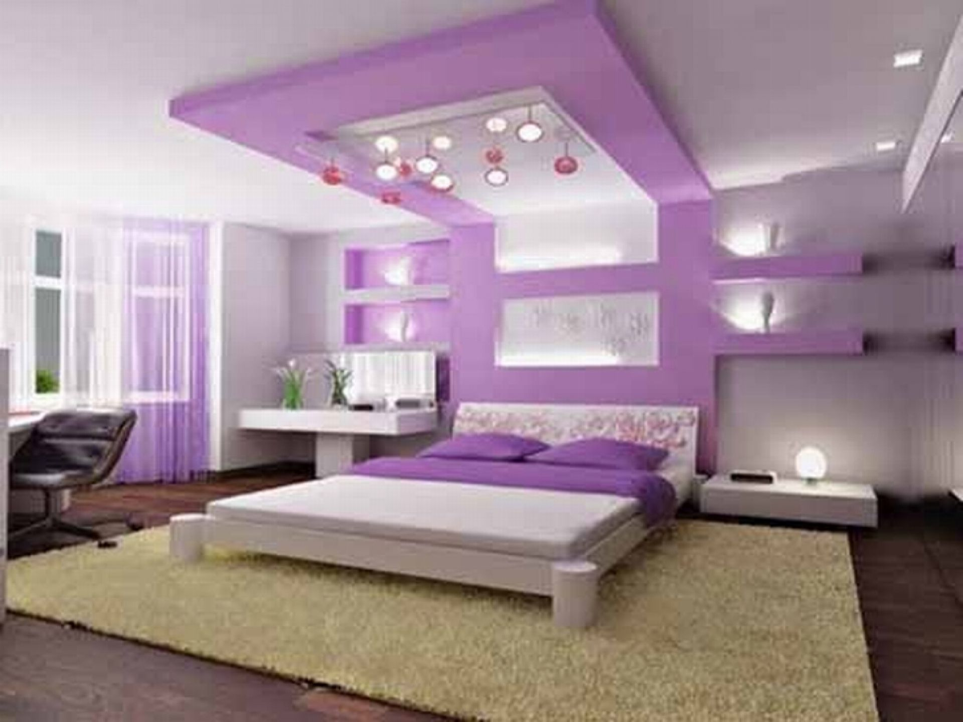 Undeniable Low Profile Bed Design with Decorative Built in Shelf and Ceiling Decoration