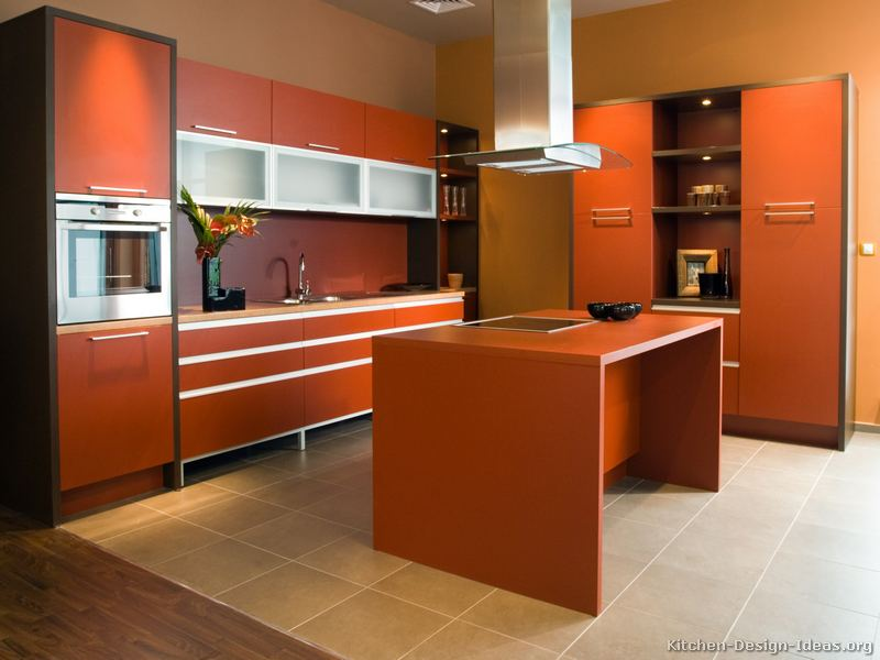 Beau Undeniable Orange Accents On Kitchen Furniture Combined With Brown Wall  Painting · Unusual Kitchen Color Scheme Representing ...