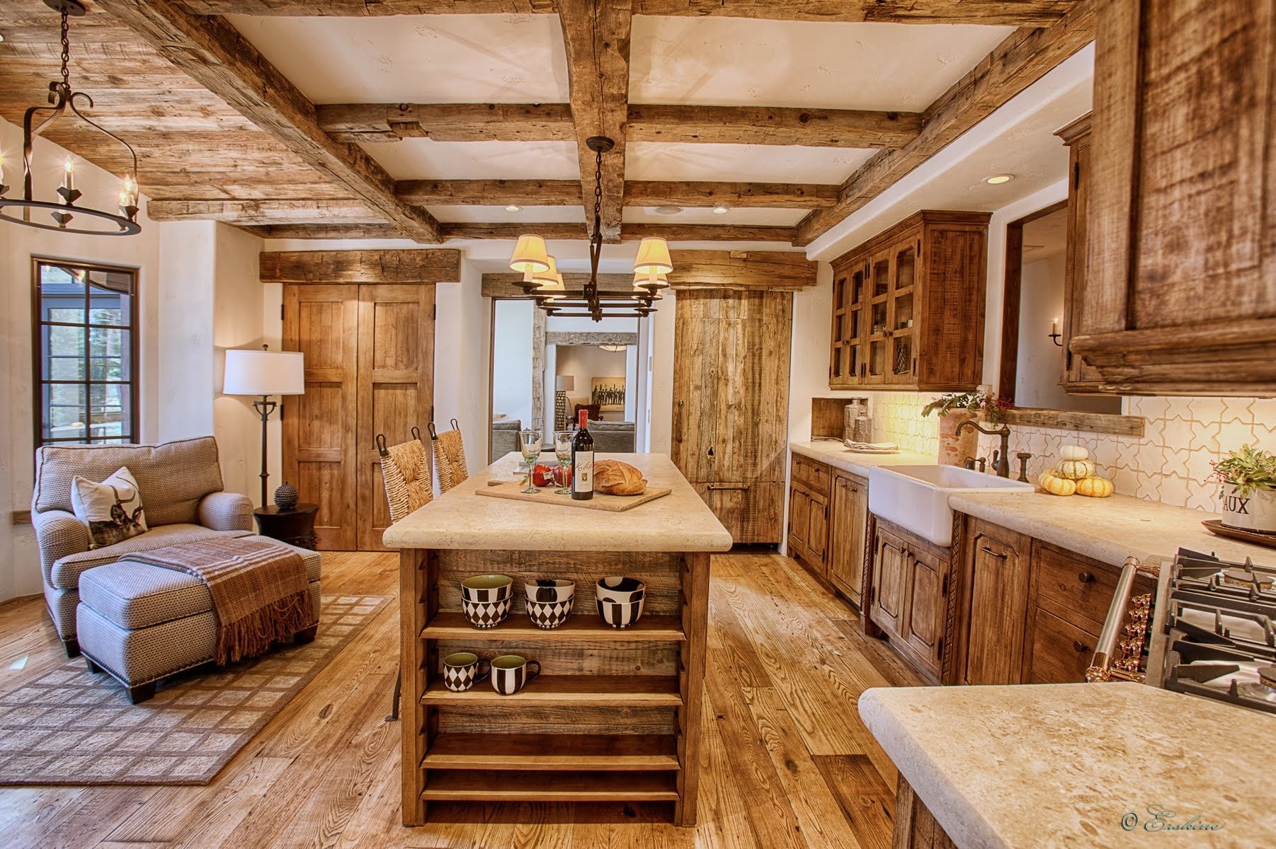 Nice Undeniable Rustic Kitchen Interior With Wooden Cabinets And Island And  Exposed Beams
