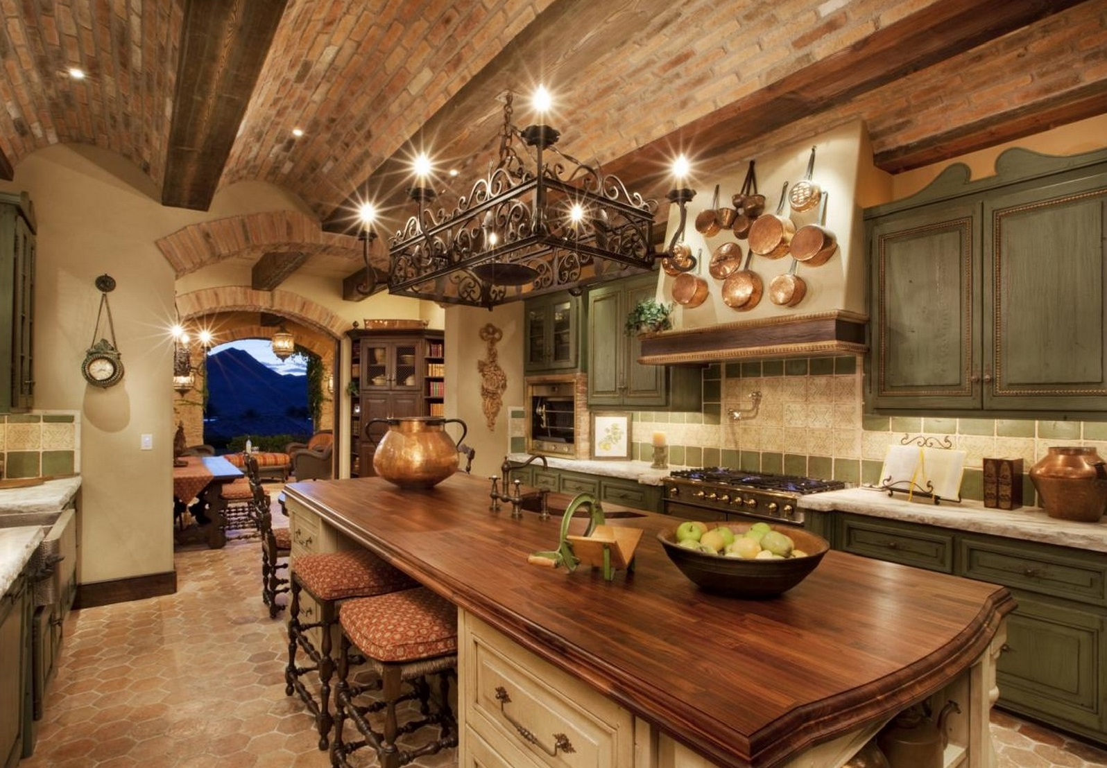 Unique Ceiling Design With Exposed Brick Creating Focal Point Of Rustic  Kitchen