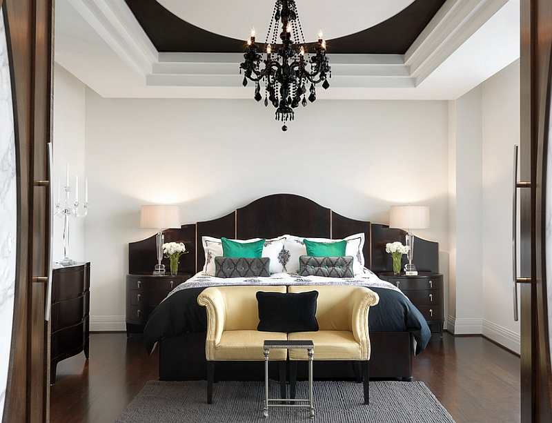 Unique Headboard and Classic Side Tables in Black to Meet White Painted Bedroom