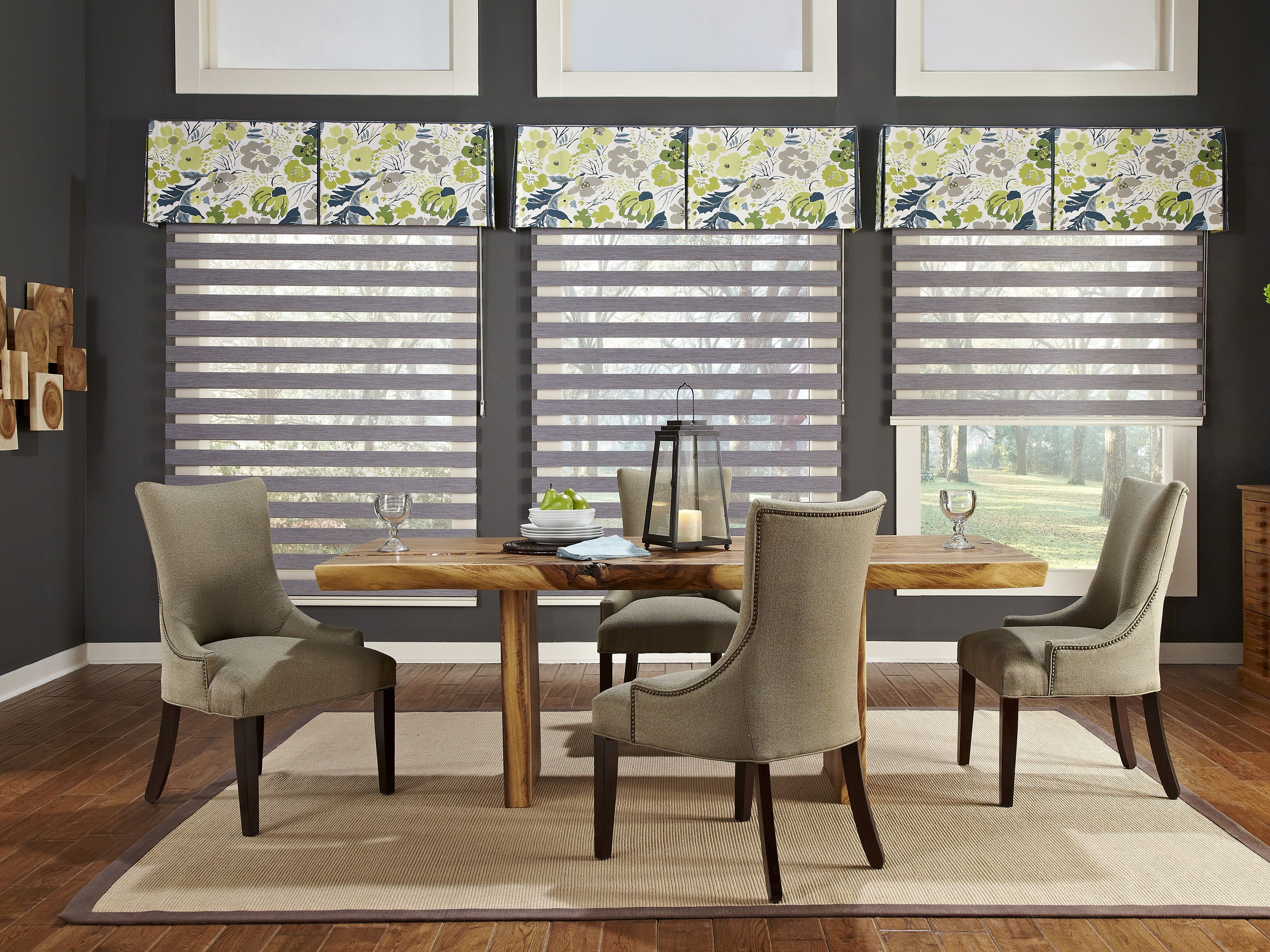 Unique Kitchen Window Treatment with Rectilinear Grey Lines and Floral Valance