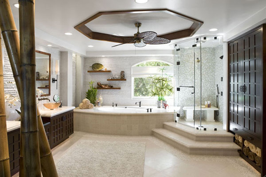 Unpredictable Bamboo Decoration for Contemporary Bathroom with Built in Tub