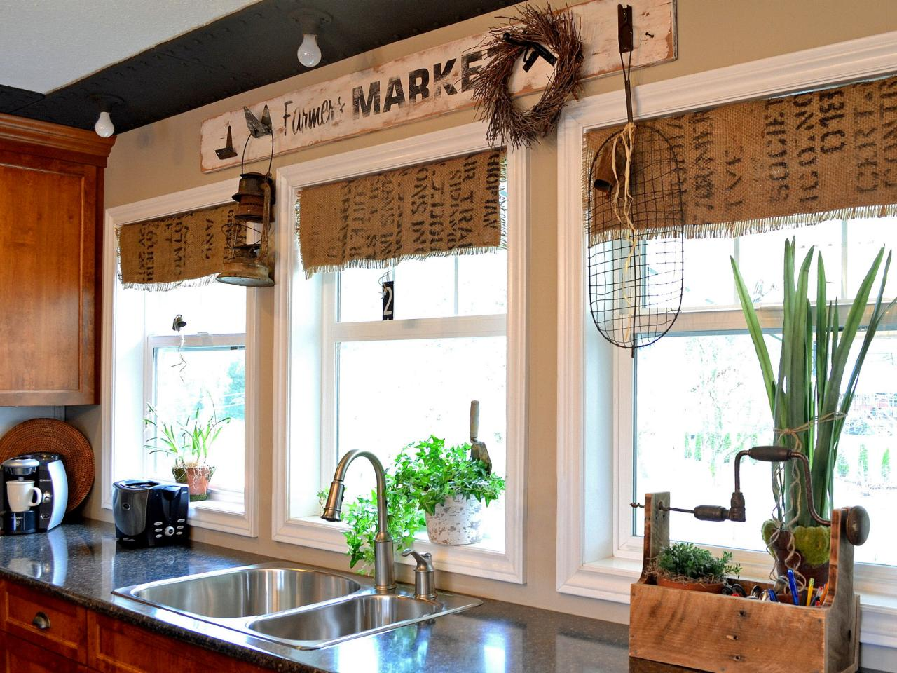 Unpredictable Burlap Window Treatment for Small Kitchen with Three French Windows