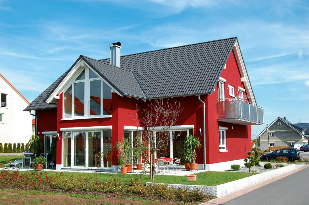 Attrayant Unpredictable Home Exterior Paint Color In Red With Dark Grey Roof And  White Trims