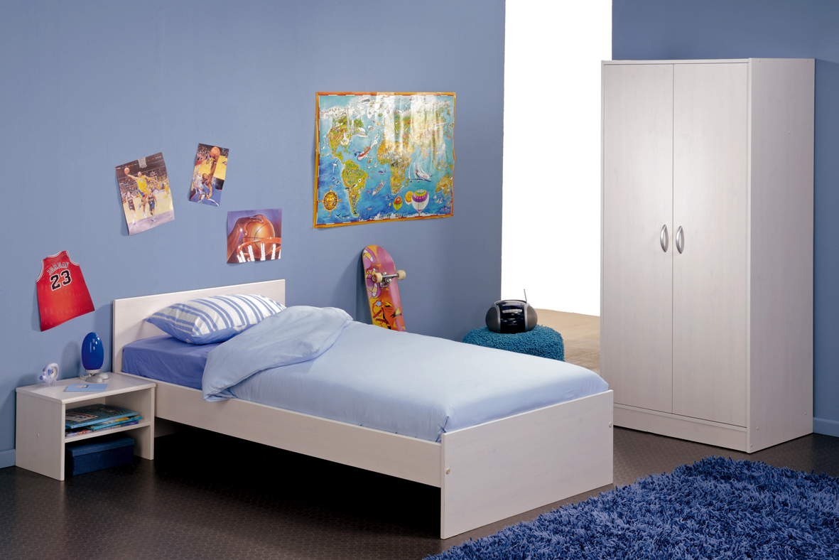 Unusual Blue Boys Bedroom with White Furnihsing and Sport Themed Decor