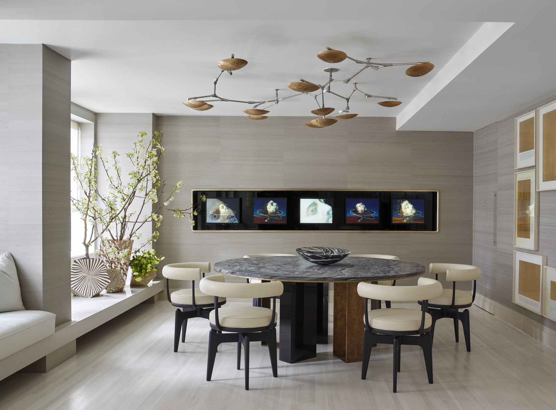 Unusual Ceiling Lamp Decorating Futuristic Dining Room Ideas With Round Marble Top Table And Modern Chairs
