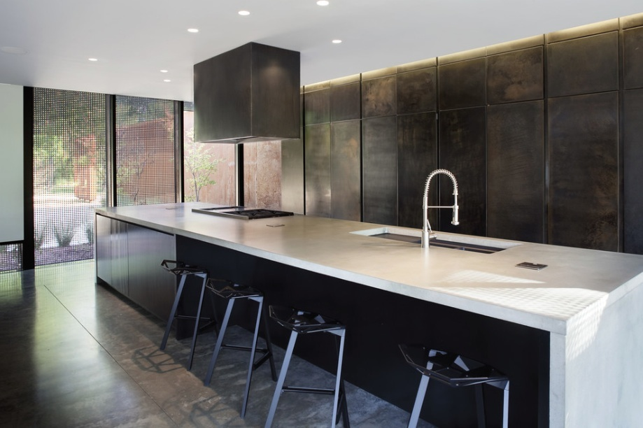 Unusual Modern Kitchen Cabinets facing Long Island and Wide Sink inside Contemporary Kitchen