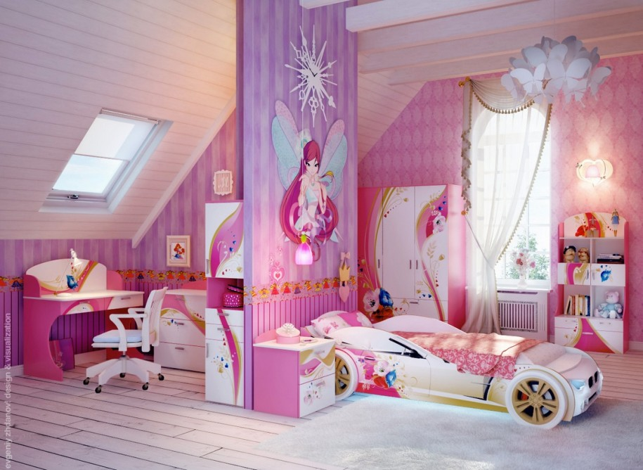 Unusual Room Ideas For Girls With Custom Car Bed And Huge Divider With  Beautiful Print