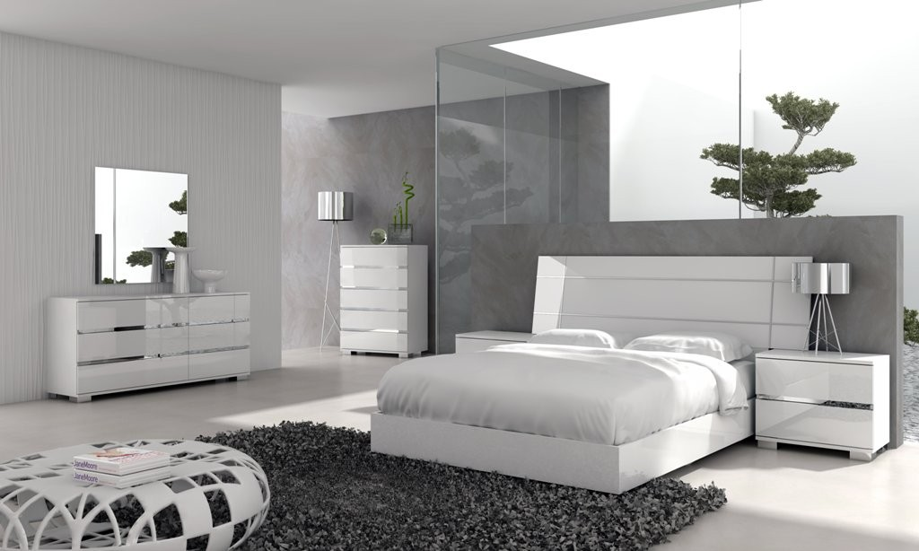 Unusual White Table and Bed on Grey Carpet Rug as Modern Furniture in Spacious Bedroom