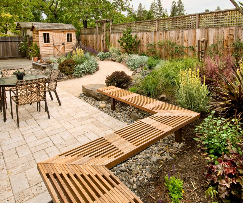 Unusual Wooden Bench Completing Backyard Patio Ideas Furnishing with Gravels Decor