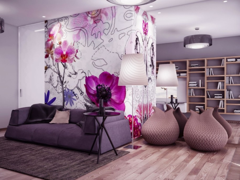 Use Flowery Wall Decal in Extraordinary Living Room Decorating Ideas with Grey Sofa and Black Side Table