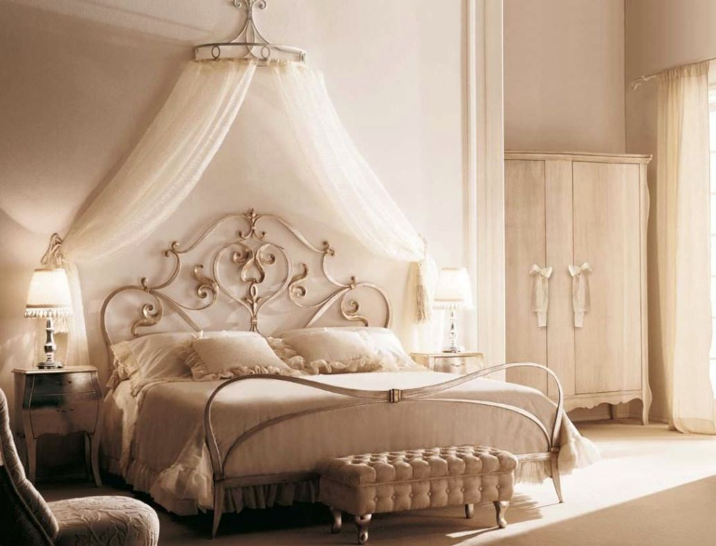 Use Gorgeous Canopy Bed Frame and Sheer Curtain to Decorate Princess Like Bedroom with Small Nightstands