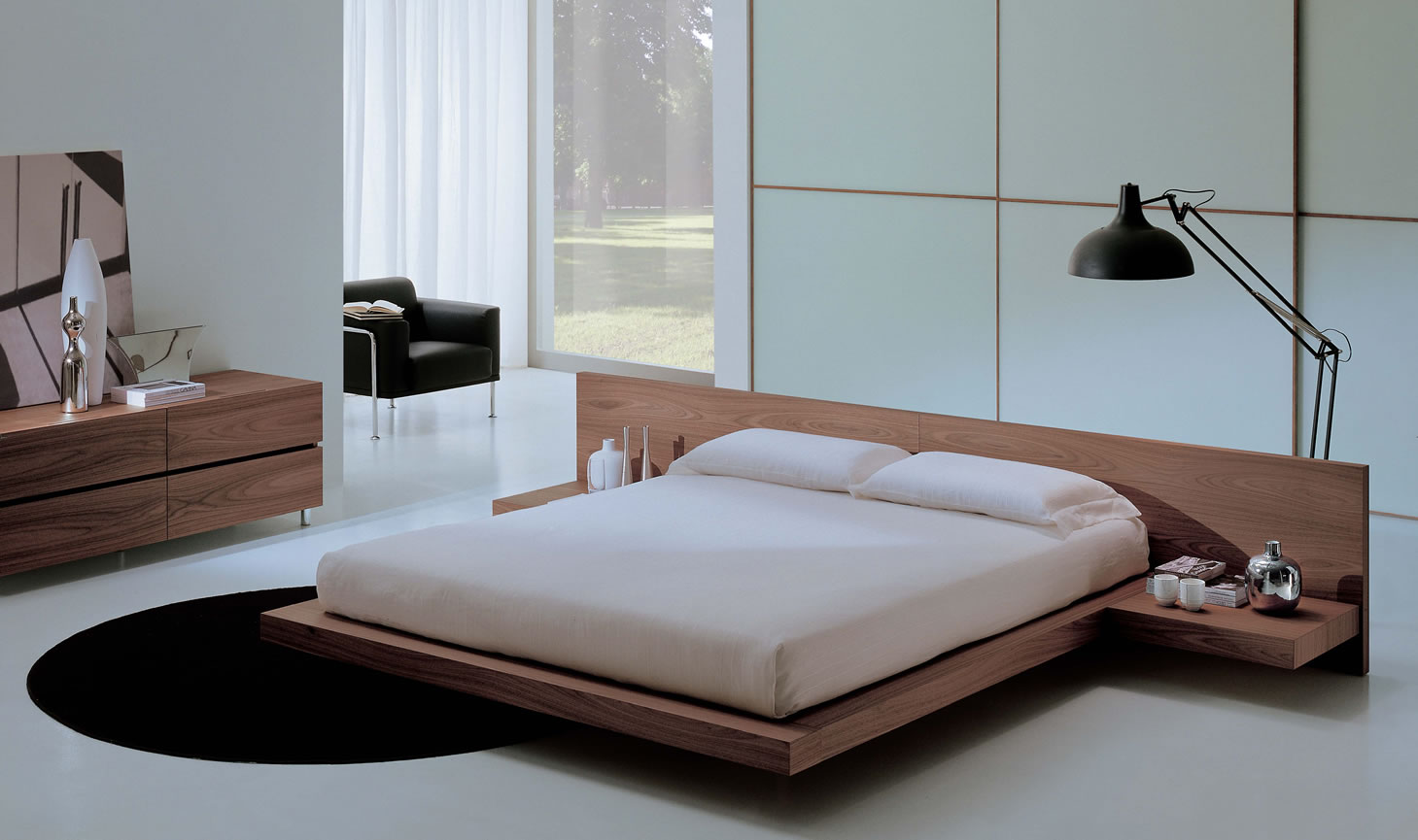 Use Minimalist Wooden Floating Bed as Modern Bedroom Furniture in Simple Room with Wooden Dresser